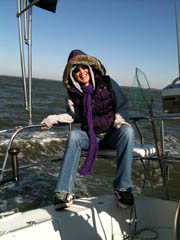 Photo of Joanne 'Joe' Hill chilling out on the Chesapeake Bay.