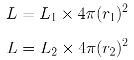 Equations for the light per unit surface area at r1 and r2 solved for L