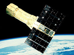 An artist's impression of the ASCA satellite in orbit.