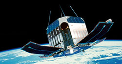An artist's conception of the Tenma satellite in oribt.