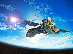 An artist's impression of the XMM-Newton satellite in orbit