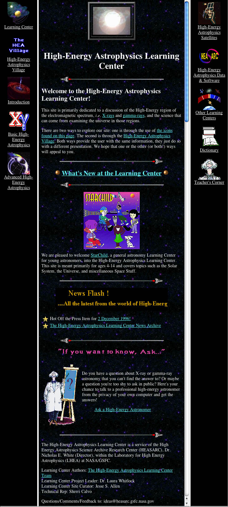 The original High-Energy Astrophysics Learning Center home page.
