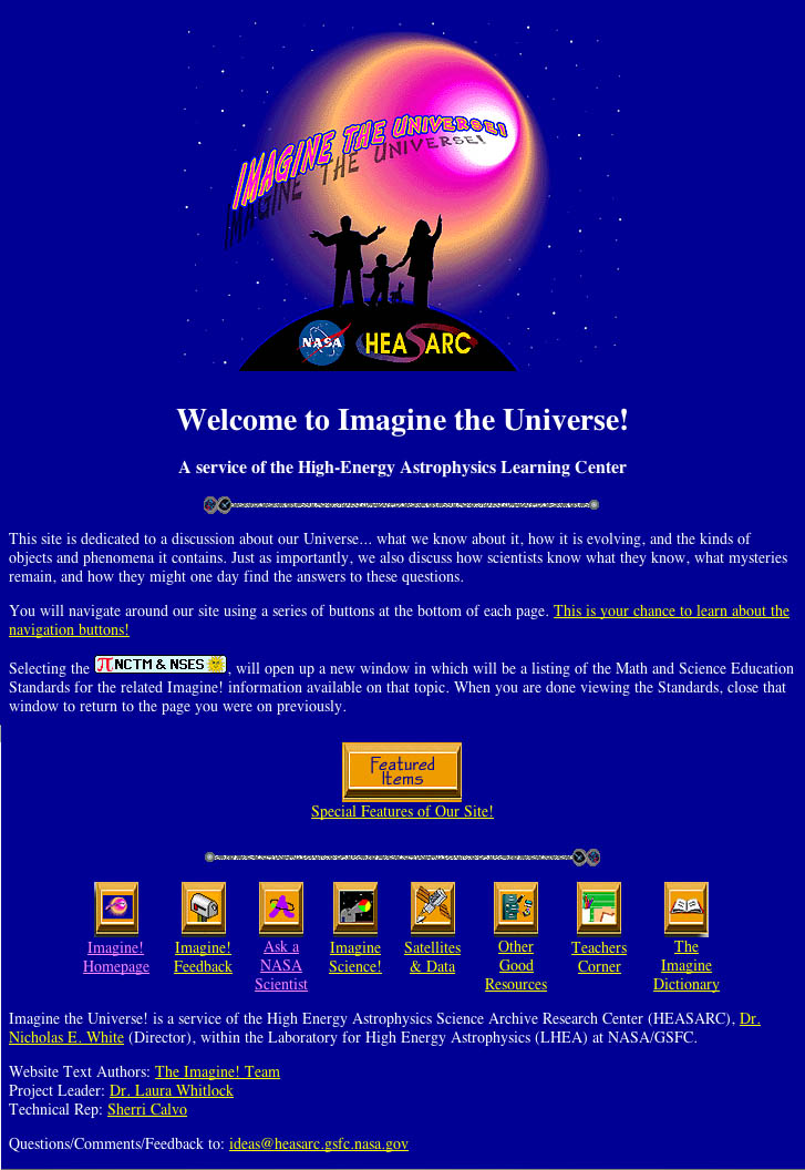 The original Imagine the Universe! home page.