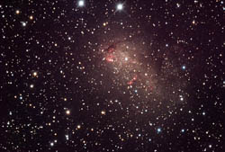 The galaxy IC 10 is an irregular dwarf galaxy about 1.8 million light-years from Earth.