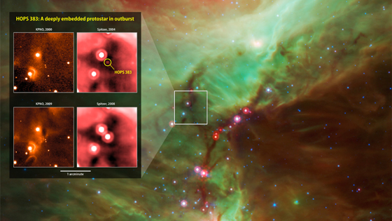 Infrared images from instruments at Kitt Peak National Observatory (KPNO, left) and NASA's Spitzer Space Telescope document the outburst of HOPS 383, a young protostar in the Orion star-formation complex.