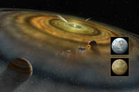 Artist's conception of the dust and gas disk surrounding Beta Pictoris.