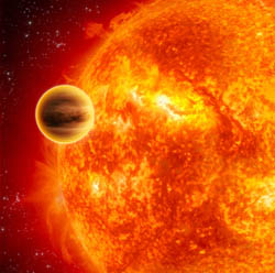 This artist's impression shows a gas-giant exoplanet transiting across the face of its star.