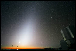 A glow called the zodiacal light can be seen in the sky before sunrise or after sunset