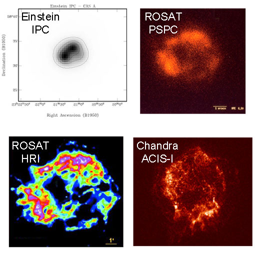 Reconstructed X-ray images from the supernova remnant Cas A from 	