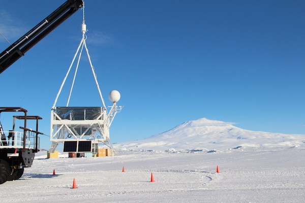 The SuperTiger balloon payload undergoing a hang test in Antarctica