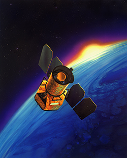 Artist's conception of the GALEX satellite in orbit