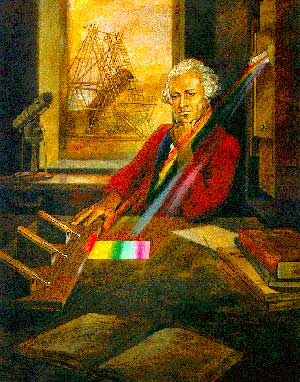 Illustration of William Herschel with his experiment that enabled the discovery of infrared light