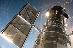 photo of the Hubble Space Telescope taken by astronauts during Servicing Mission 4