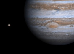 Jupiter and one of its moons, Io