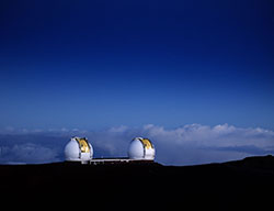 photograph of the Keck I and II domes