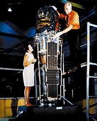 Scientists perform pre-flight checks on the Uhuru satellite